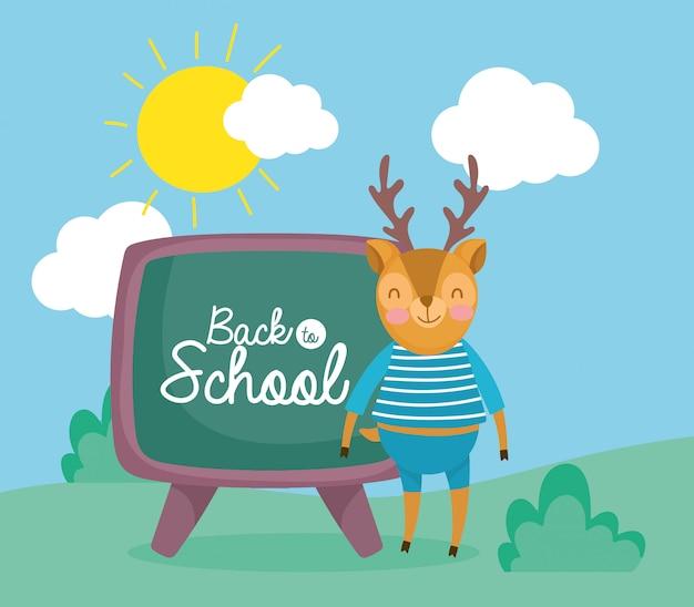 Regreso a la escuela educación ciervos con pizarra al aire libre