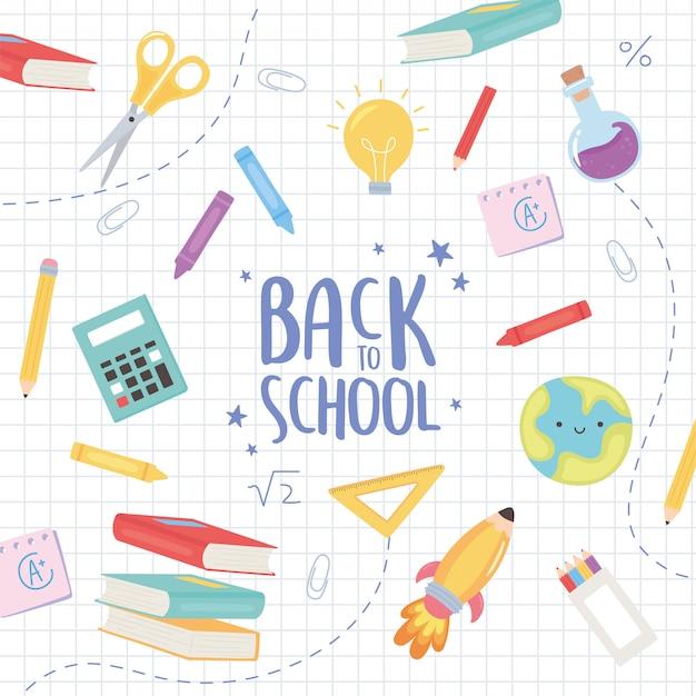 Regreso a la escuela, la educación proporciona elementos de papelería fondo de cuadrícula de dibujos animados