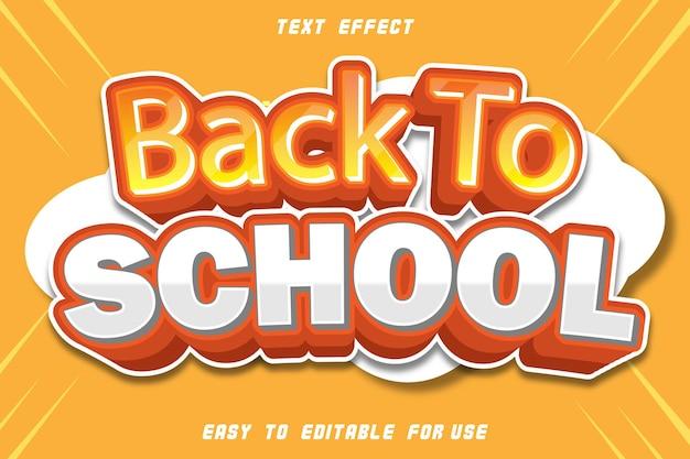 Regreso a la escuela efecto de texto editable estilo cómico