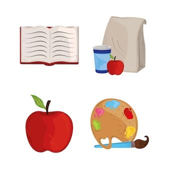 Regreso a la escuela, establezca los iconos del almuerzo del libro y la paleta de arte, pincel de color, educación, ilustración