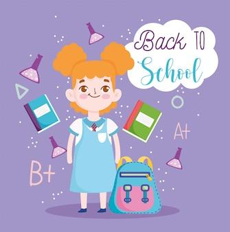 Regreso a la escuela, estudiante, niña, mochila, libros, tubos de ensayo, ciencia, educación primaria, caricatura, vector, ilustración