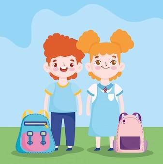 Regreso a la escuela, estudiante, niño y niña, bolsas, educación primaria, caricatura, ilustración