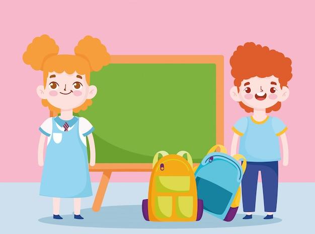 Regreso a la escuela, estudiante, niño y niña, bolsas de pizarra, educación primaria, ilustración de dibujos animados