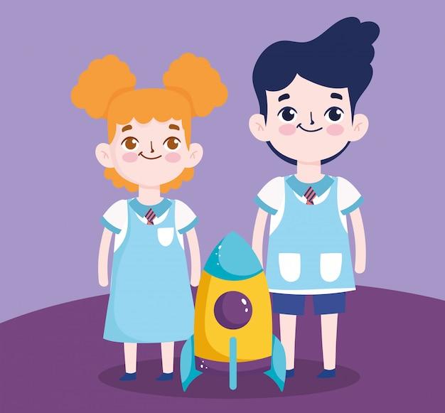 Regreso a la escuela, estudiante, niño y niña, cohete, educación primaria, caricatura, ilustración