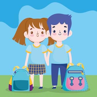 Regreso a la escuela, estudiante, niño y niña, mochilas, educación primaria, caricatura, ilustración
