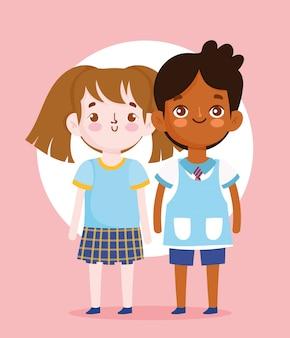 Regreso a la escuela, estudiante, niño y niña, uniforme, caricatura, educación primaria, ilustración