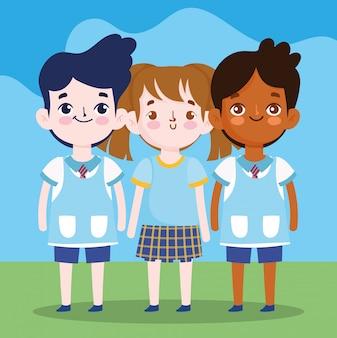 Regreso a la escuela, estudiantes, niñas y niños, personajes de dibujos animados, educación primaria, dibujos animados, ilustración