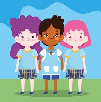 Regreso a la escuela, estudiantes personajes de dibujos animados ilustración de dibujos animados de educación primaria