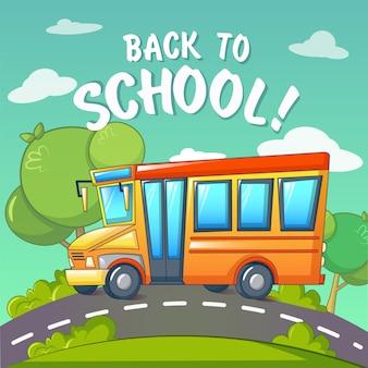 Regreso a la escuela en el fondo del autobús escolar, estilo de dibujos animados