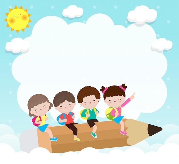 Regreso a la escuela, grupo de dibujos animados niños volando en lápiz, niños montando lápiz grande en el cielo, ilustración del concepto de educación aislado en el fondo