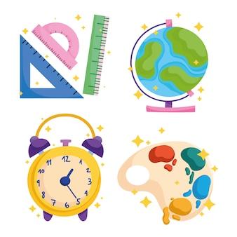 Regreso a la escuela, los iconos de color de la paleta de pintura del reloj del mapa del mundo