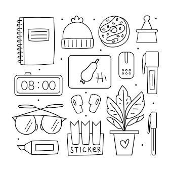 Regreso a la escuela, juego de imágenes prediseñadas. diseño de doodle negro.