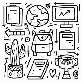 Regreso a la escuela kawaii dibujos animados diseño de doodle
