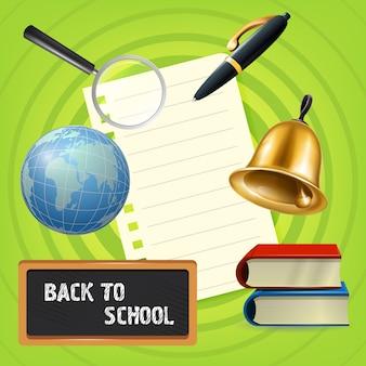 Regreso a la escuela letras en la pizarra con globo y campana