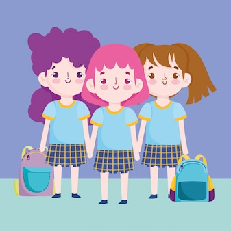 Regreso a la escuela, lindas niñas con uniforme y mochilas de dibujos animados de educación primaria