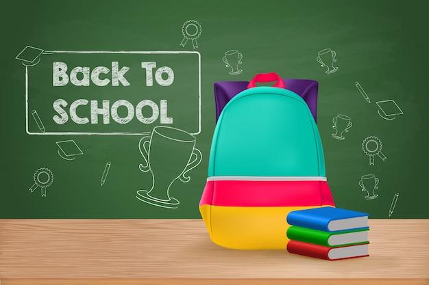 Regreso a la escuela, mochila escolar y libros sobre mesa de madera