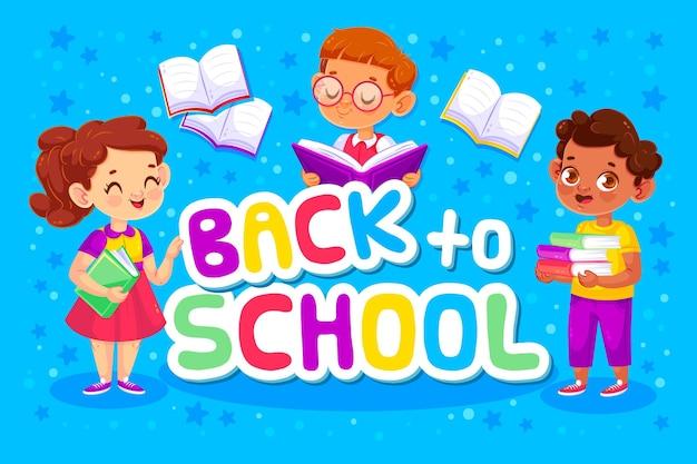 Regreso a la escuela con niños y libros.