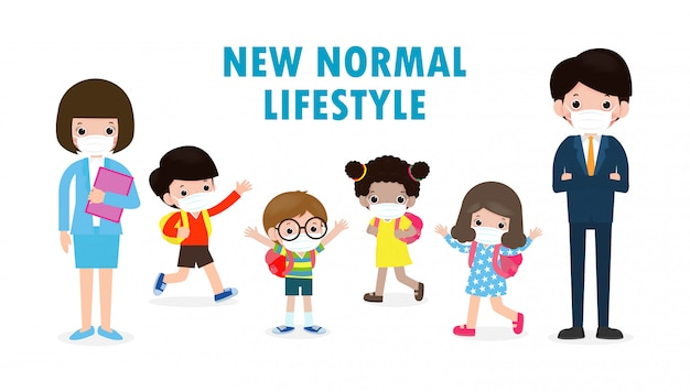 Regreso a la escuela por un nuevo concepto de estilo de vida normal. estudiantes felices, niños y maestros con máscara facial protegen el virus corona o covid 19 en la escuela aislada en la ilustración de fondo blanco
