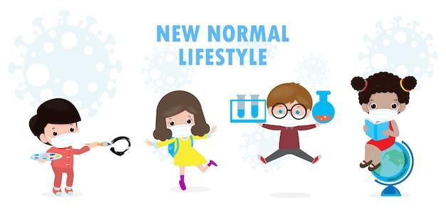 Regreso a la escuela para un nuevo concepto de estilo de vida normal. feliz grupo de niños con máscara facial y distanciamiento social protegen el coronavirus covid 19, los niños y amigos van a la escuela aislados en el fondo