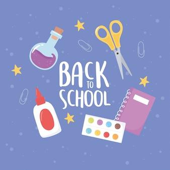 Regreso a la escuela, paleta de color tijeras pegamento cuaderno educación dibujos animados