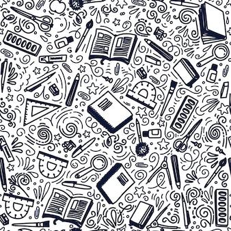 Regreso a la escuela de patrones sin fisuras. papelería. ilustración.