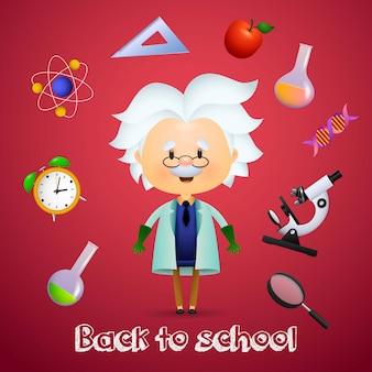 Regreso a la escuela con el personaje de dibujos animados albert einstein