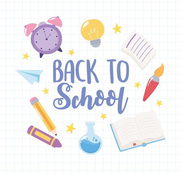 Regreso a la escuela, reloj de fondo de cuadrícula, lápiz y libro, dibujos animados de educación primaria