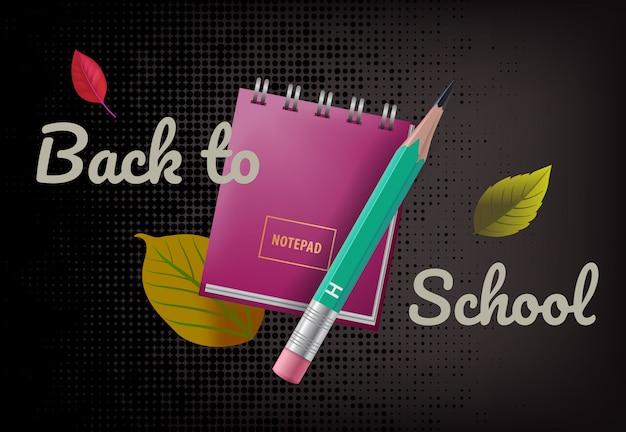 Regreso a la escuela de rotulación con cuaderno, hojas y lápiz.