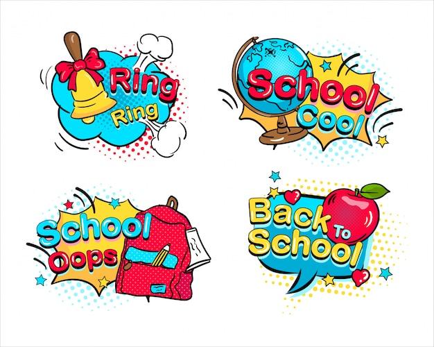 Regreso a la escuela set cómic dibujado a mano discurso burbuja dot