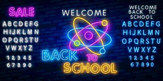 Regreso a la escuela con signos de neón.