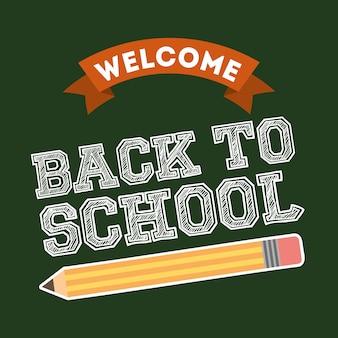 Regreso a la escuela sobre fondo verde vector illustration