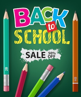 Regreso a la escuela, venta, cincuenta por ciento de letras y lápices