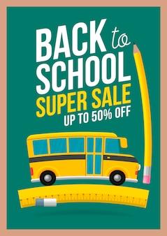Regreso a la escuela venta sign. el autobús escolar se monta en la regla. fondo de pizarra