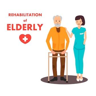 Rehabilitación para ancianos en el centro de rehabilitación anuncio
