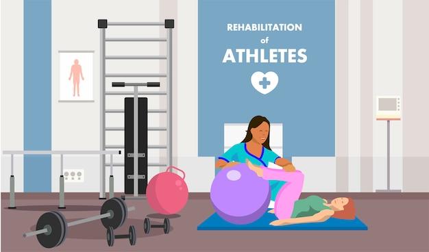 Rehabilitación en anuncios de clase de gimnasia fisioterapéutica