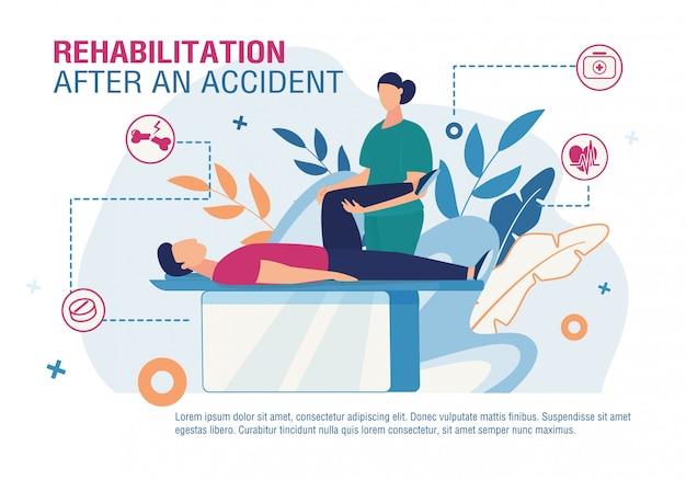 Rehabilitación después de un cartel publicitario de accidente