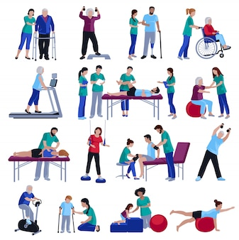 Rehabilitación de fisioterapia personas colección de iconos planos