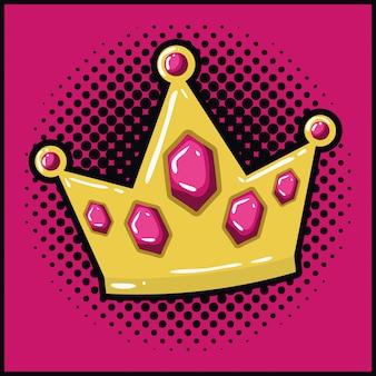 Reina corona de estilo pop art