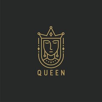 Reina con plantilla de logotipo de estilo de línea