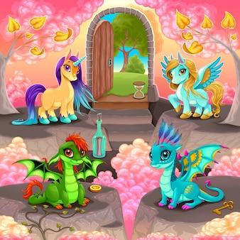 Reino de la fantasía con una puerta en el mundo real