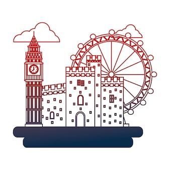 Reino unido big ben castle y london eye