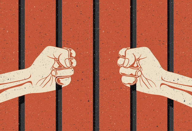 Tras las rejas. dos manos brazos sosteniendo las barras. concepto de encarcelamiento, privación de libertad.