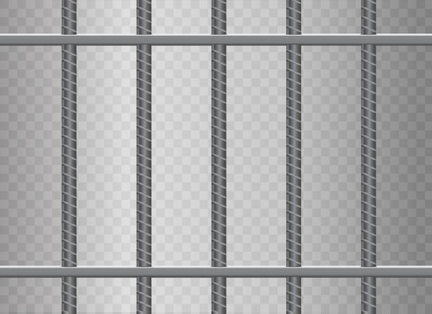Rejas de prisión de metal realistas. aislado en un fondo transparente