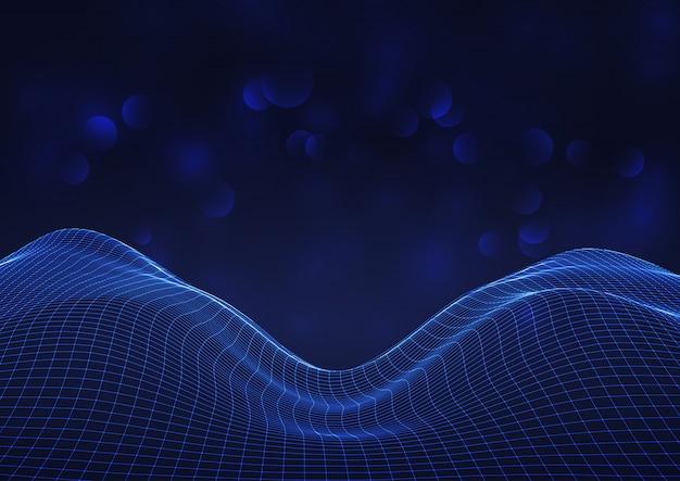 Rejilla que fluye futurista sobre fondo de luces bokeh