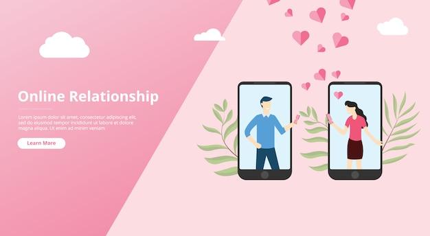 Relación de amor virtual en línea para banner de plantilla de sitio web