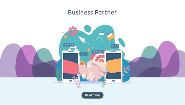 Relación de asociación comercial con apretón de manos y carácter de personas diminutas. concepto de trabajo en equipo.