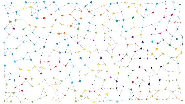 Relación entre círculo de puntos con conexión de línea de guión.