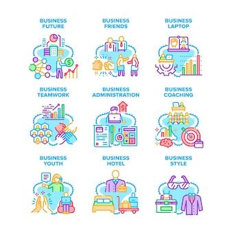 Relación empresarial establecer iconos ilustraciones vectoriales. negocios jóvenes amigos y trabajo en equipo, estilo futuro y administración hotelera, coaching y dispositivo digital portátil. color vibrante ilustraciones