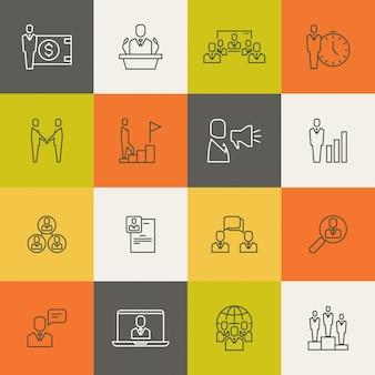 Relación de equipo de personas de negocios, gestión humana delgada línea
