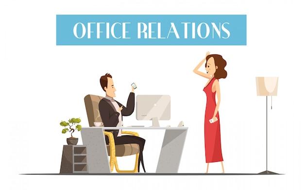 Relaciones de oficina estilo de diseño de dibujos animados con mujer atractiva